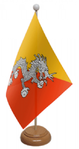 Bhutan Desk / Table Flag with wooden stand and base